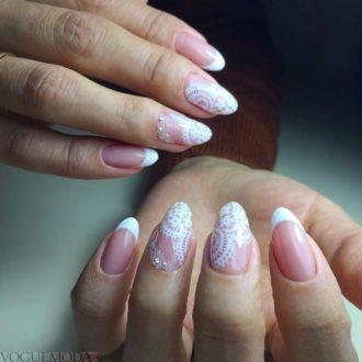 свадебные ногти с кружевом