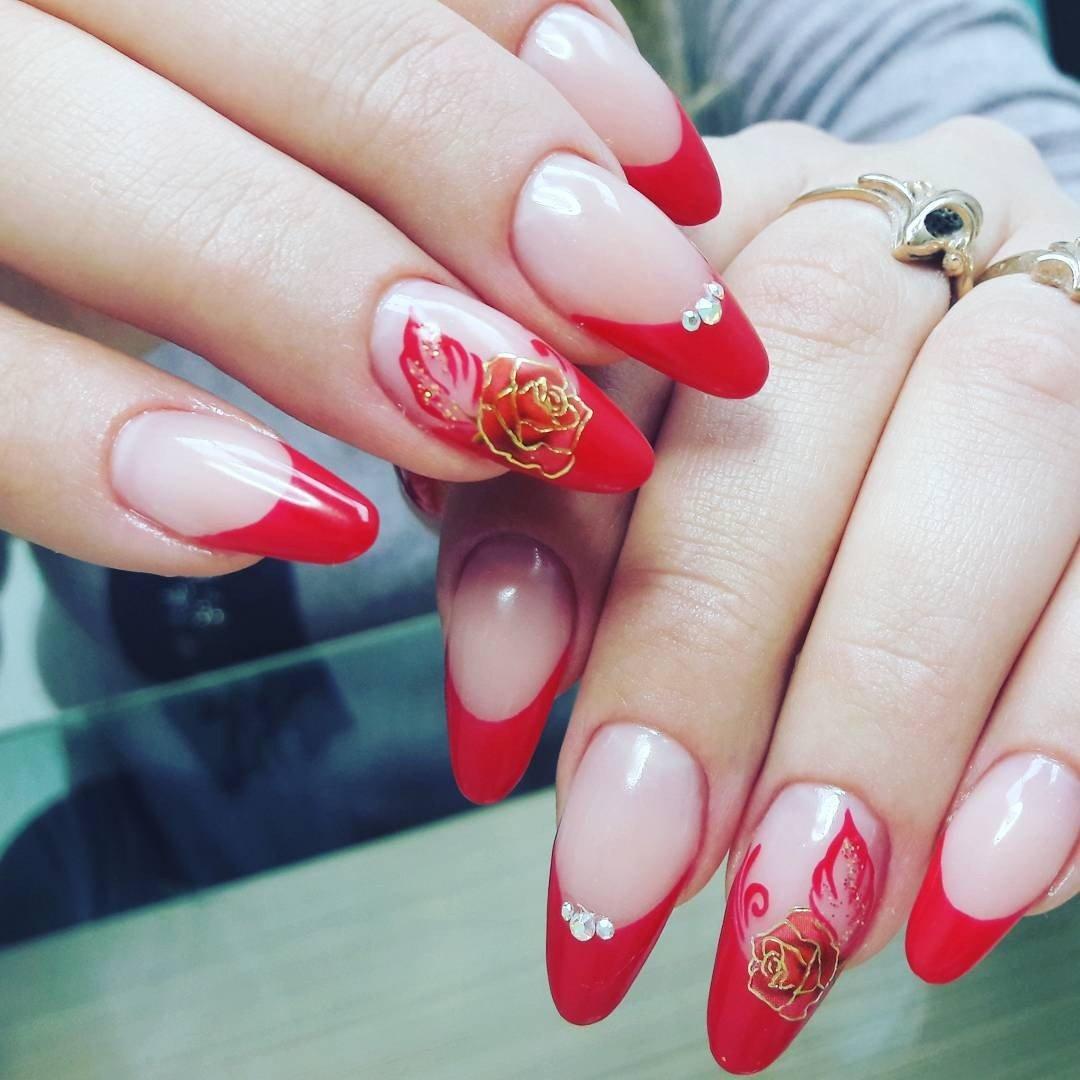 Картинки френч красный с белым на ногтях