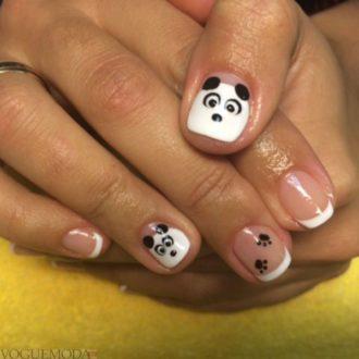 френч на коротких ногтях с пандой