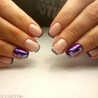 френч на коротких ногтях с цветным рисунком