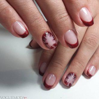 френч бордовый на коротких ногтях