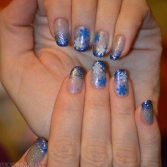 френч миллениум синий с рисунком