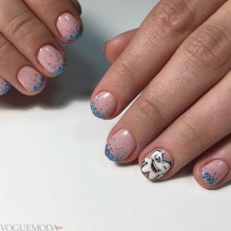 френч миллениум голубой с рисунком