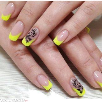 модный френч с рисунком желтый