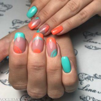 модный френч с рисунком двухцветный