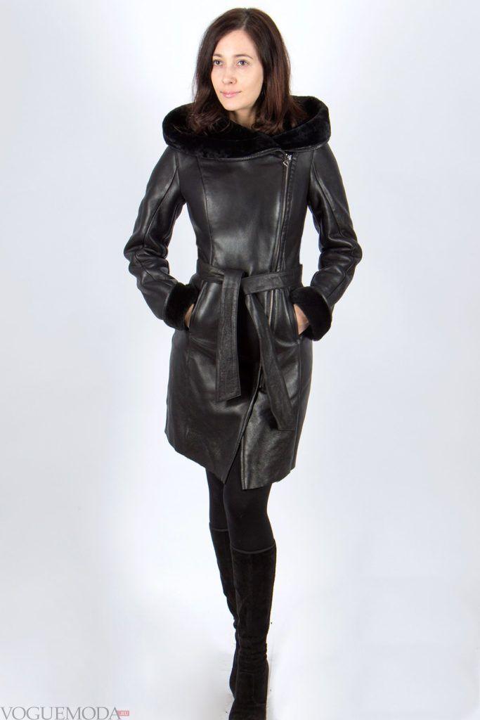 женская кожаная дубленка черная