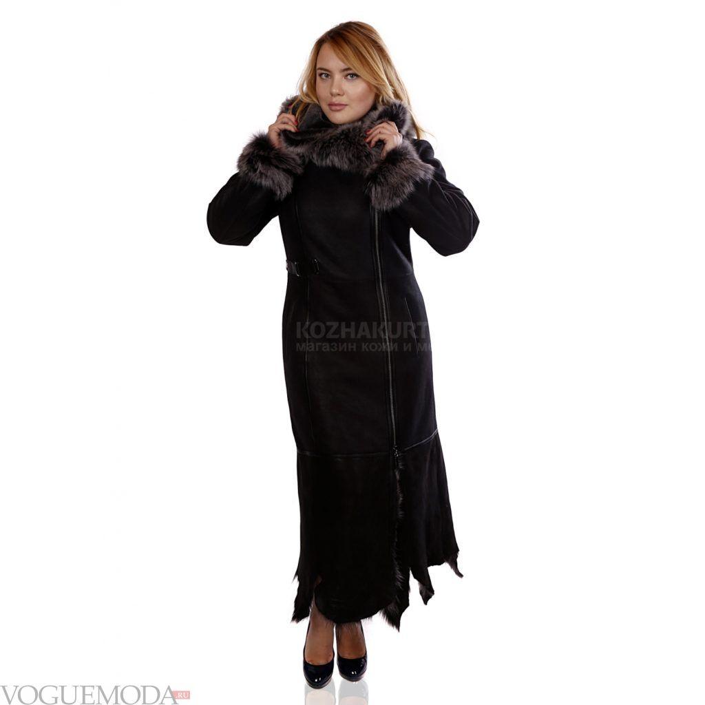женская длинная дубленка черная