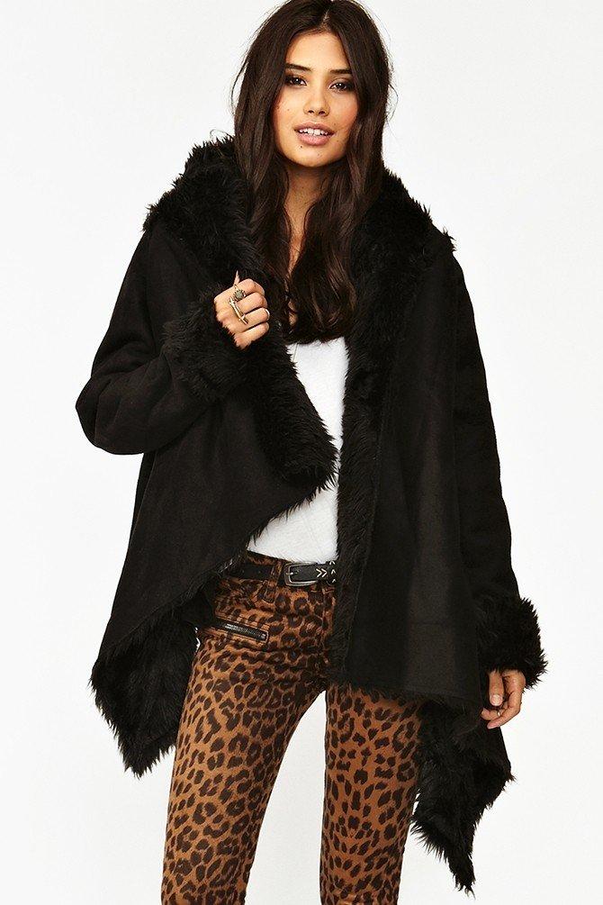 женская дубленка-халат черная
