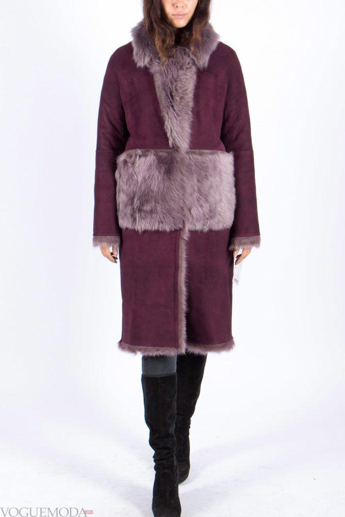 женская бордовая дубленка с накладными карманами