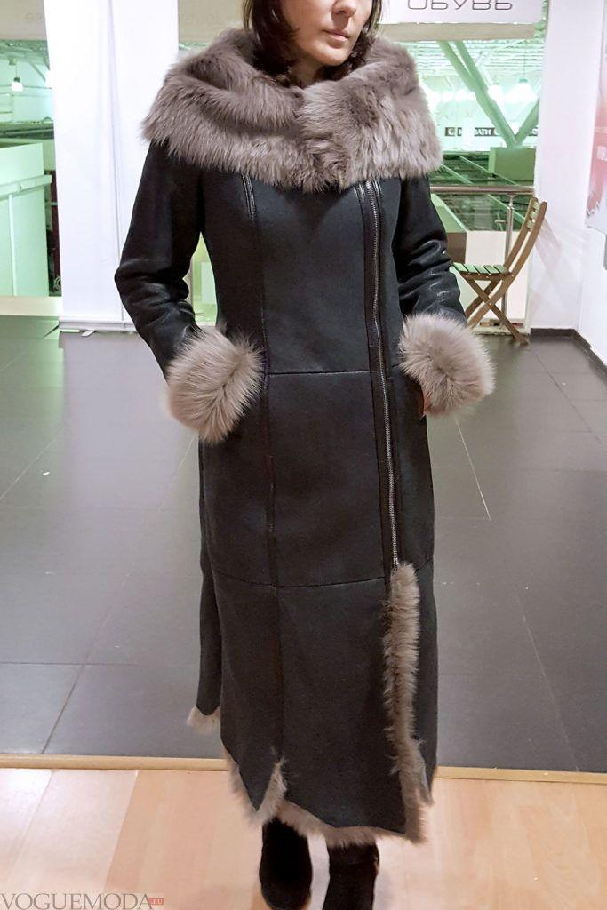 женская длинная дубленка с декором