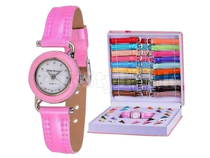 молодежные розовые женские часы