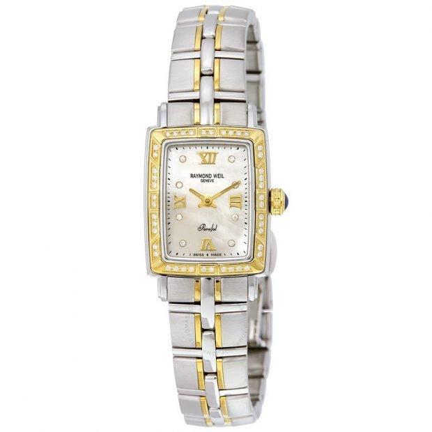 женские часы с миниатюрным циферблатом двухцветные