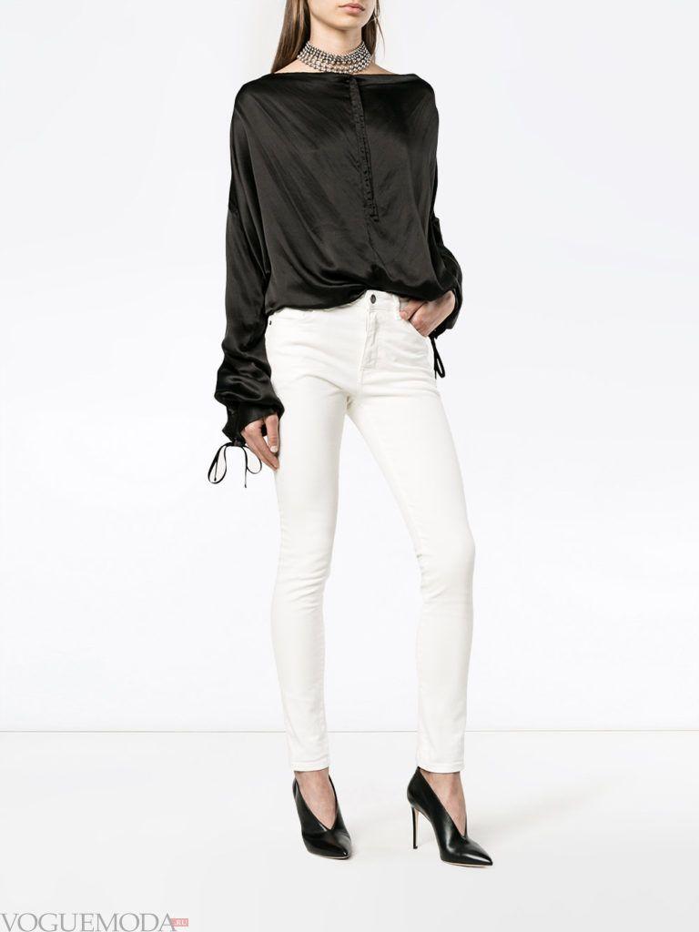 классические женские джинсы белые