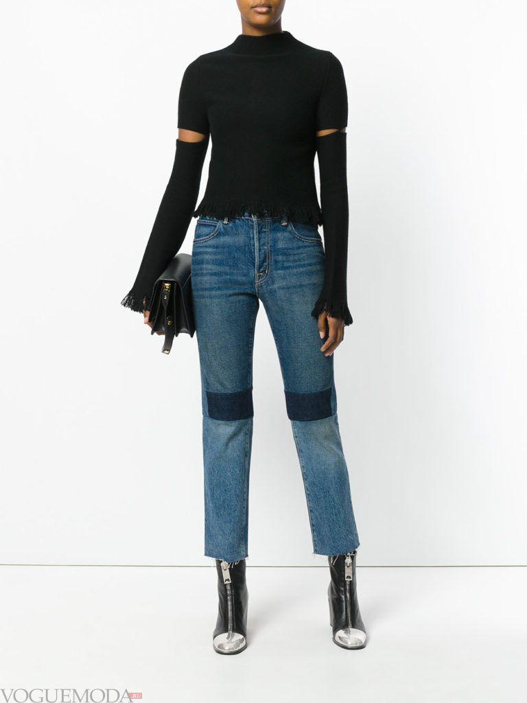 джинсы с контрастными вставками синие