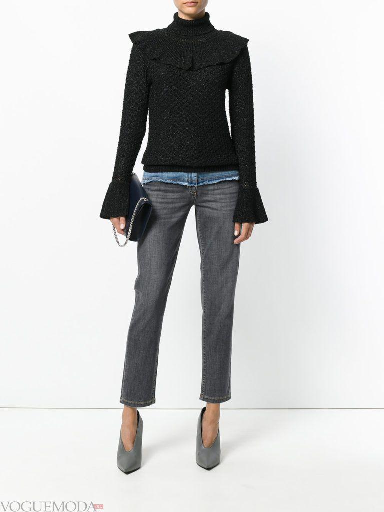 джинсы с контрастными вставками двухцветные