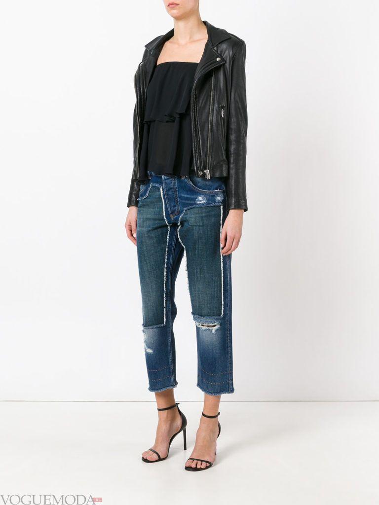 джинсы с контрастными вставками бойфренды