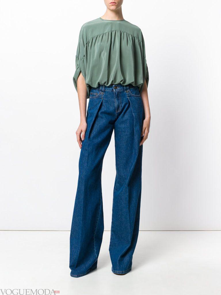 женские джинсы «Клеш» синие