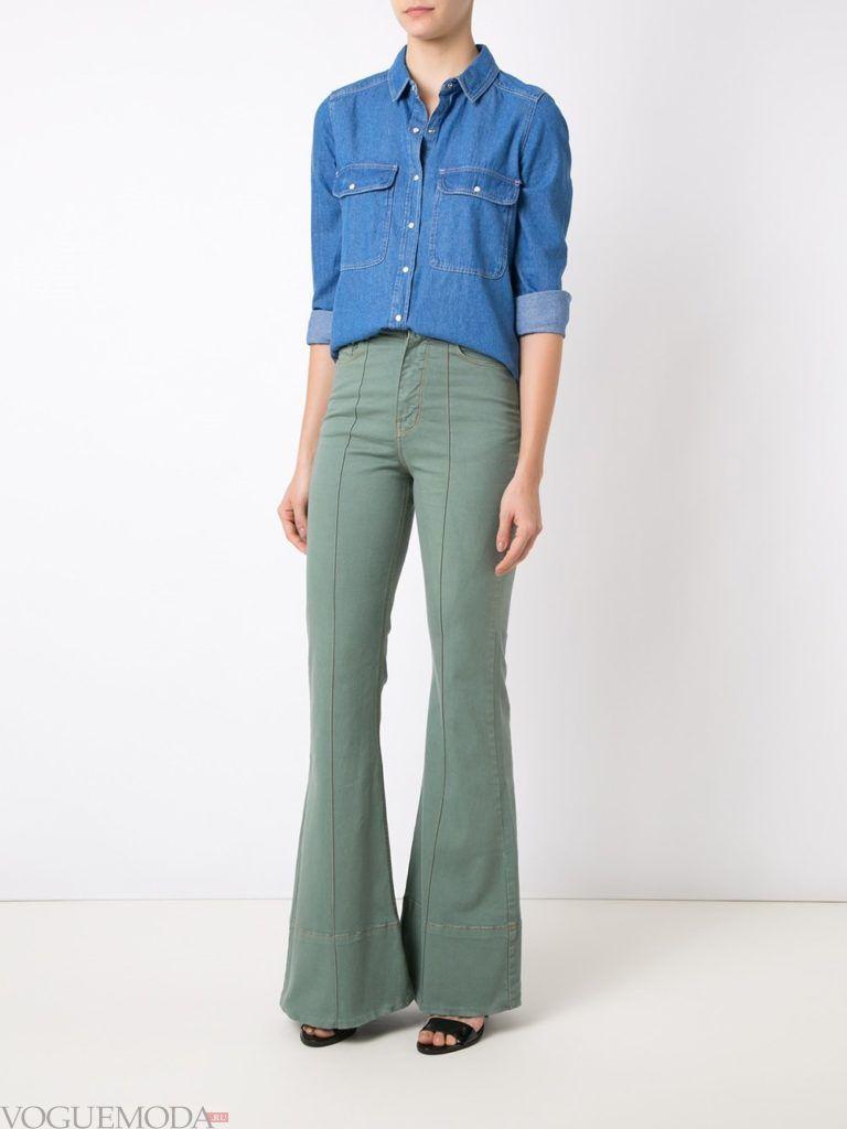 женские джинсы «Клеш» цветные
