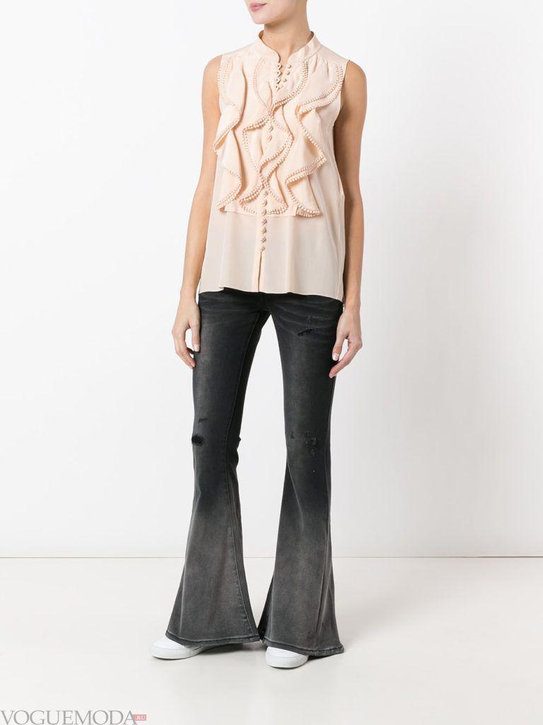женские джинсы «Клеш» серые