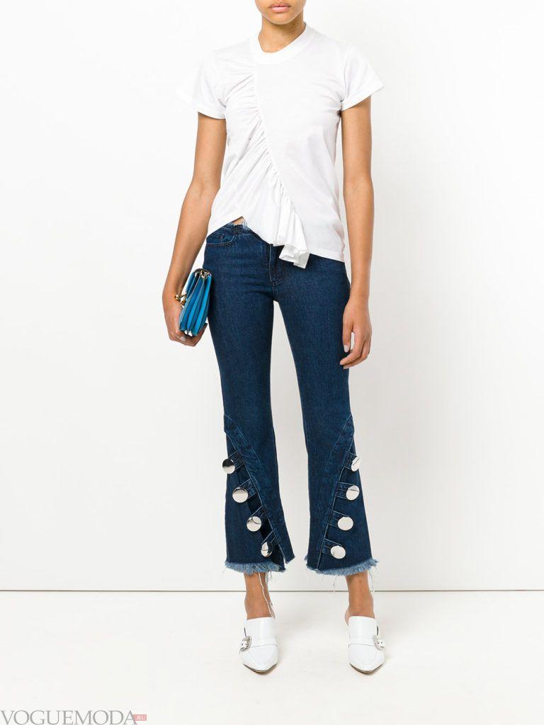 женские джинсы «Клеш» с декором