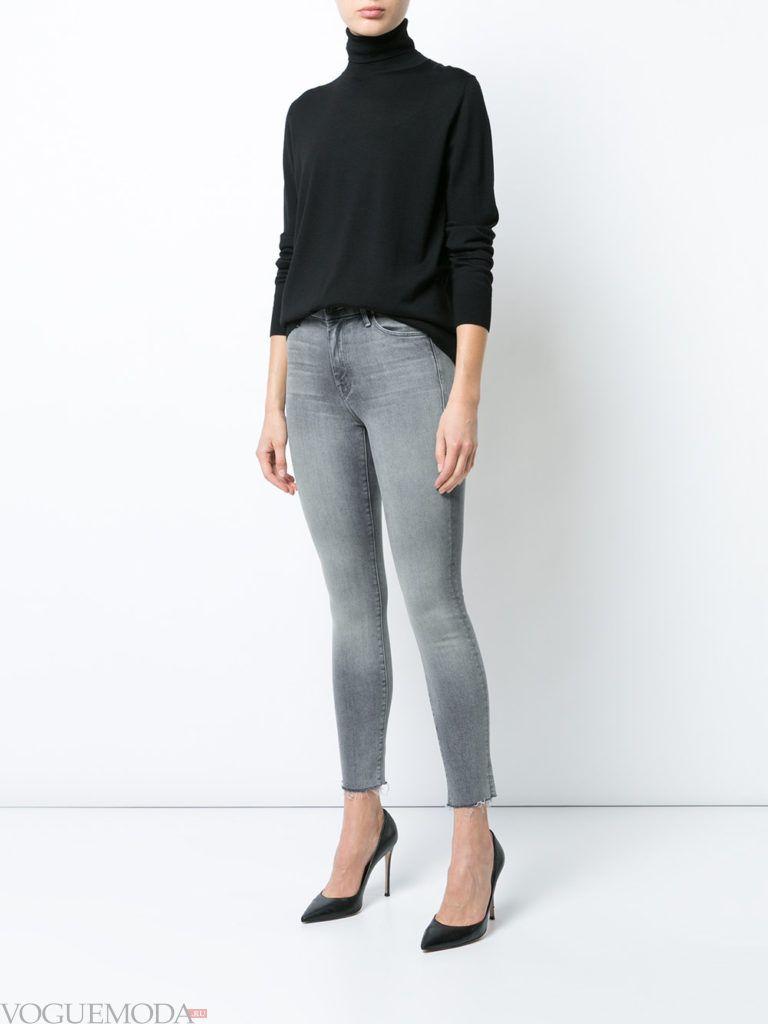 узкие женские джинсы серые