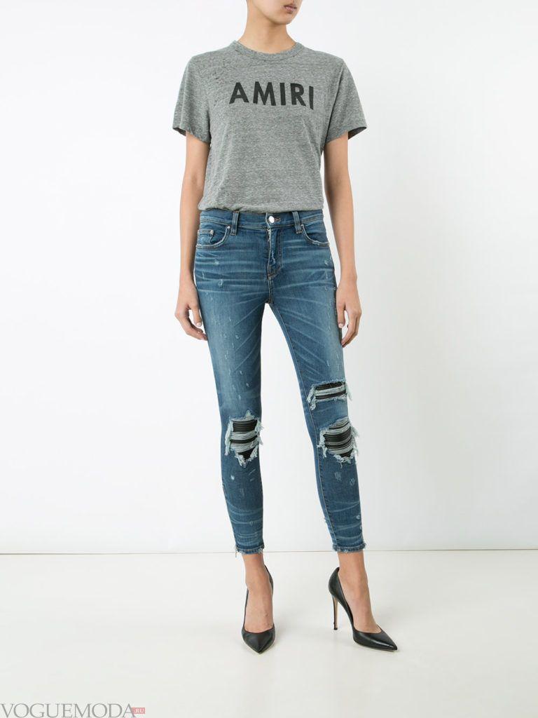узкие женские джинсы с рваные