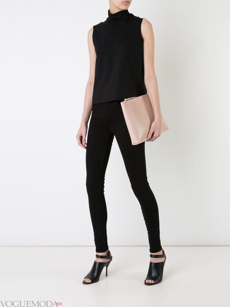 узкие женские джинсы черные