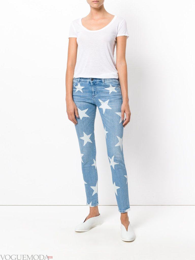 узкие женские джинсы с декором