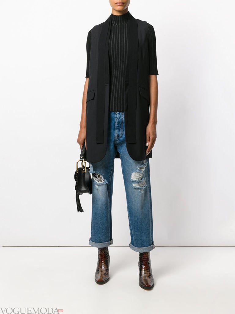 женские джинсы бойфренда синие