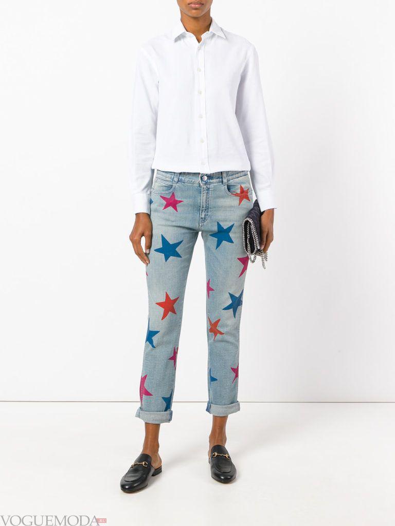 женские джинсы бойфренда с декором