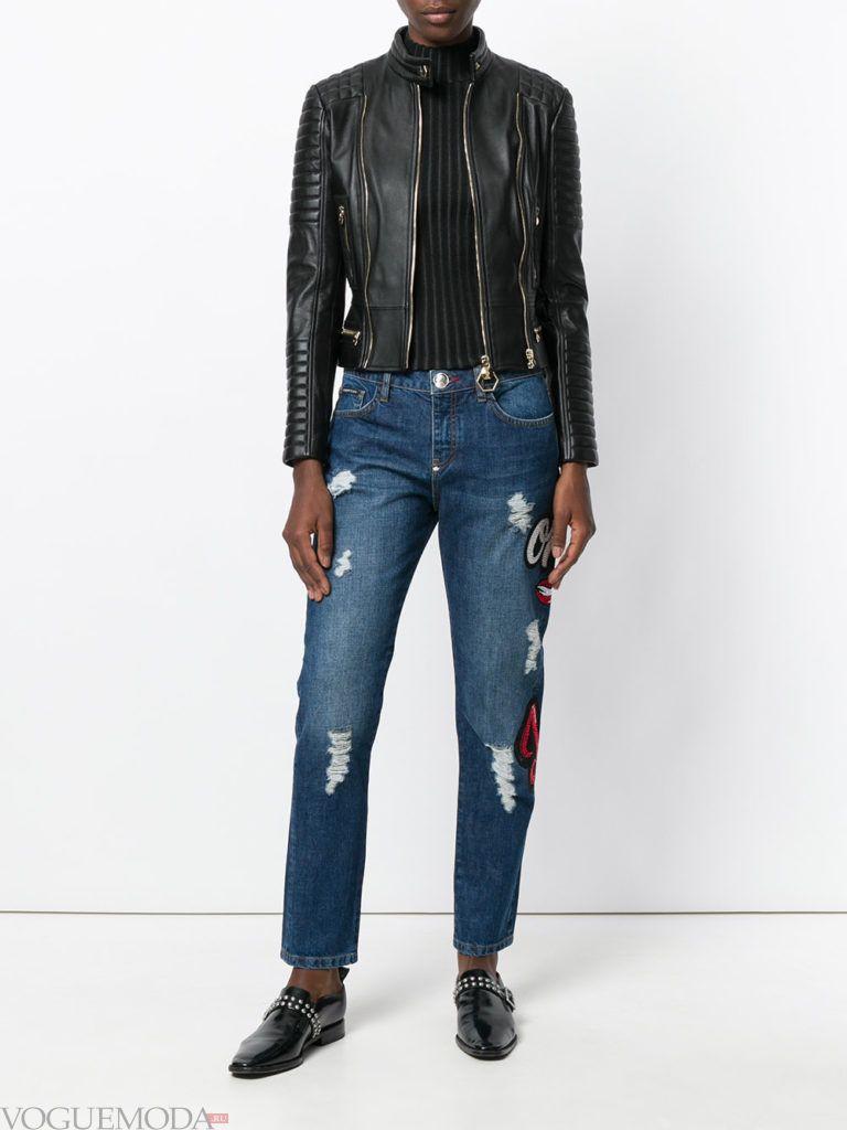 женские джинсы бойфренда темные