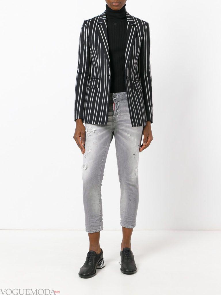 укороченные женские джинсы серые