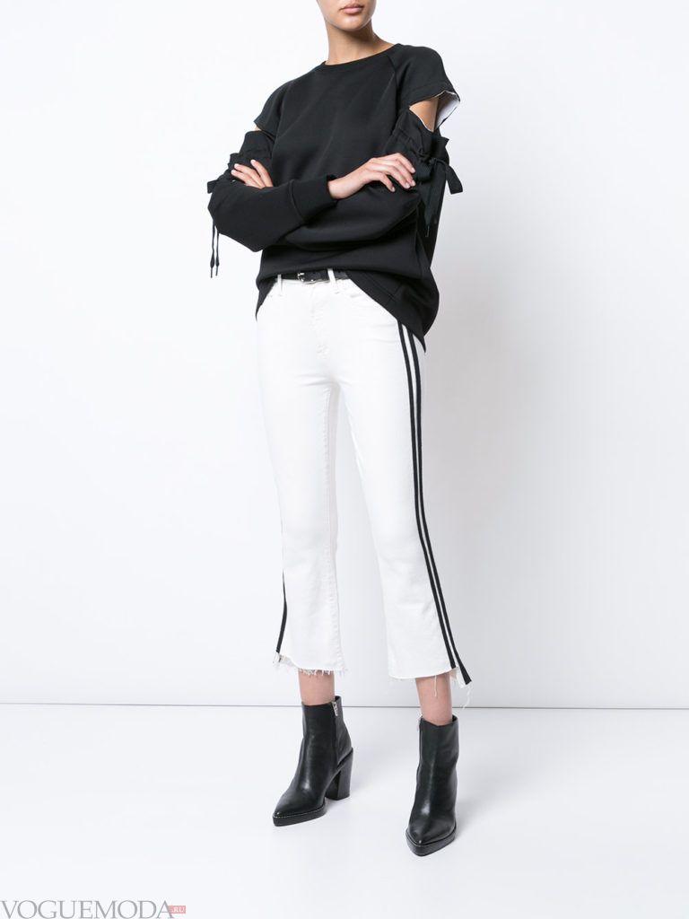 укороченные женские джинсы белые