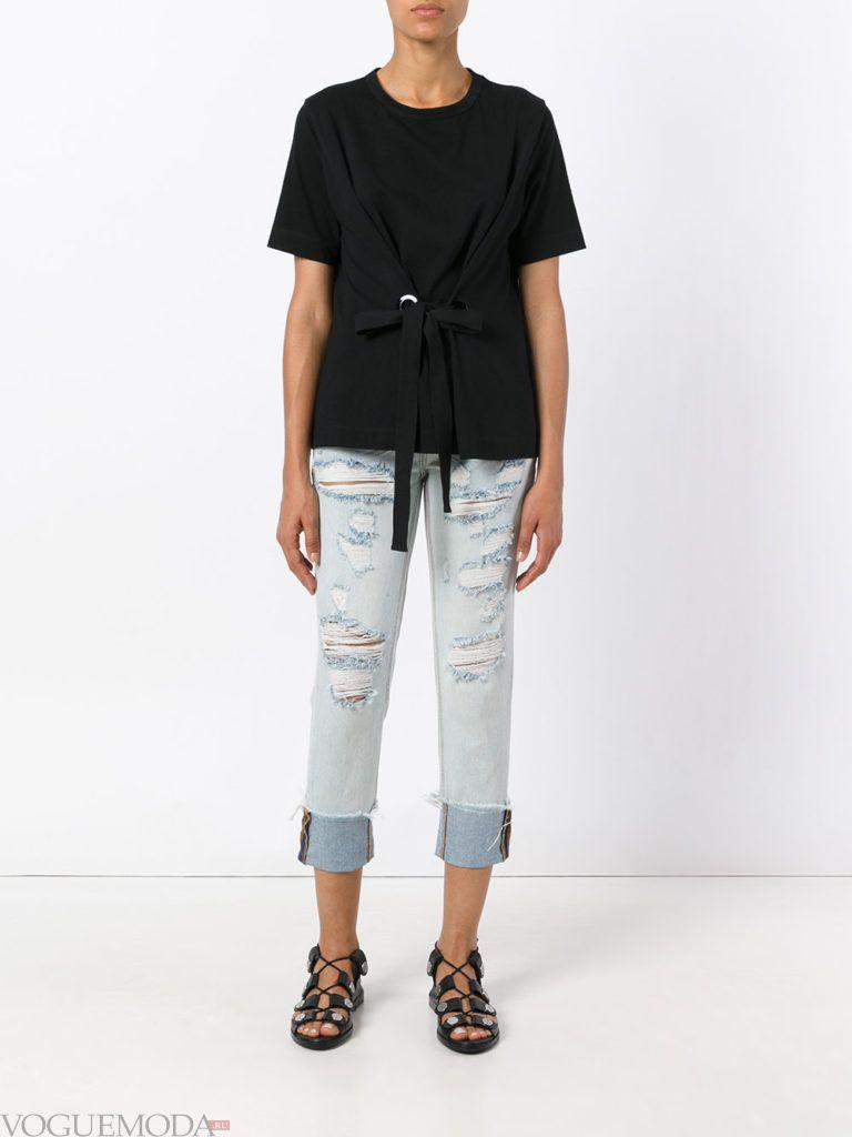 джинсы в стиле «Гранж» короткие