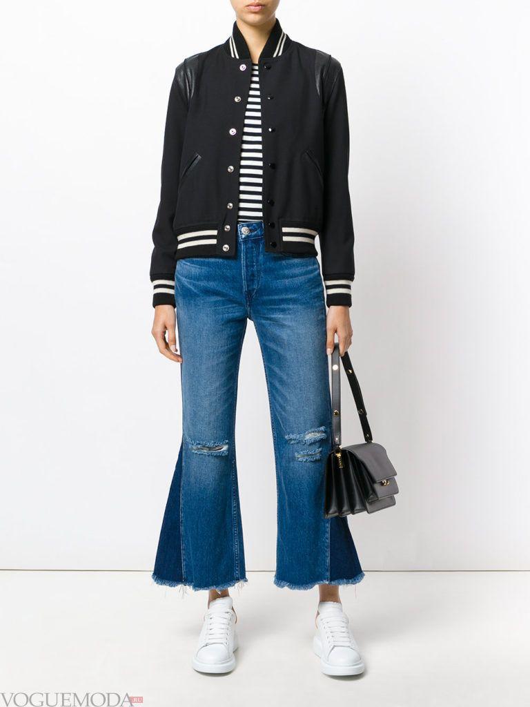 модные джинсы синие