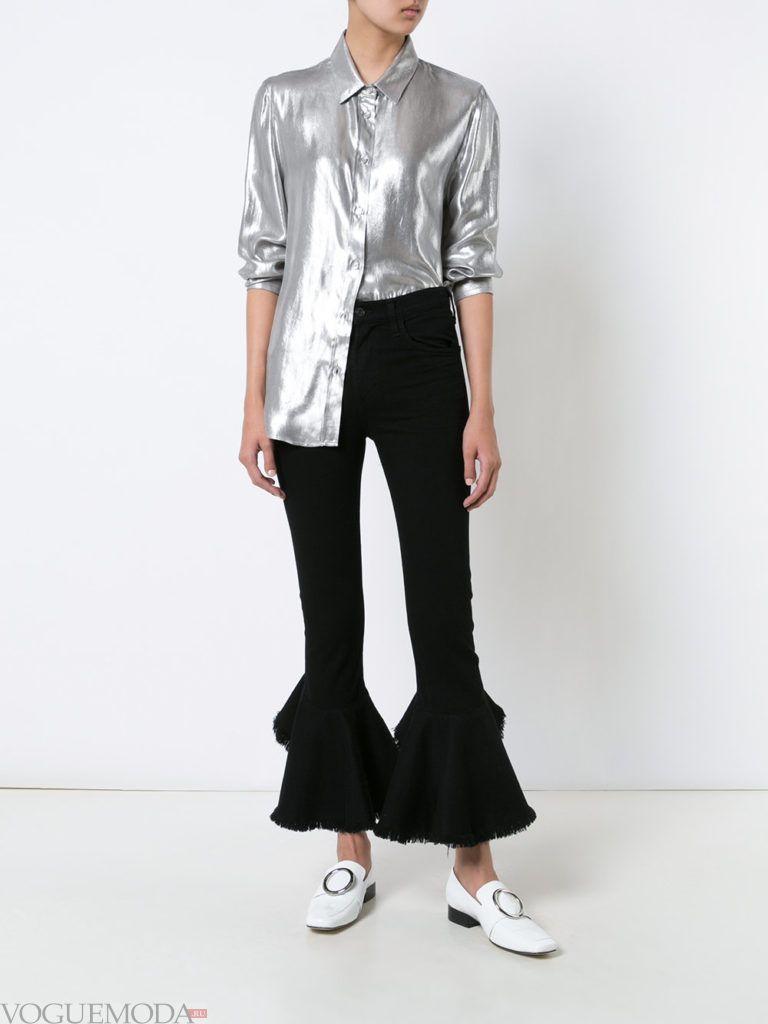 модные джинсы с рюшами