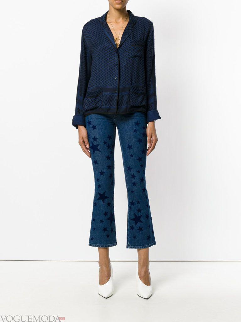 модные джинсы с рисунком