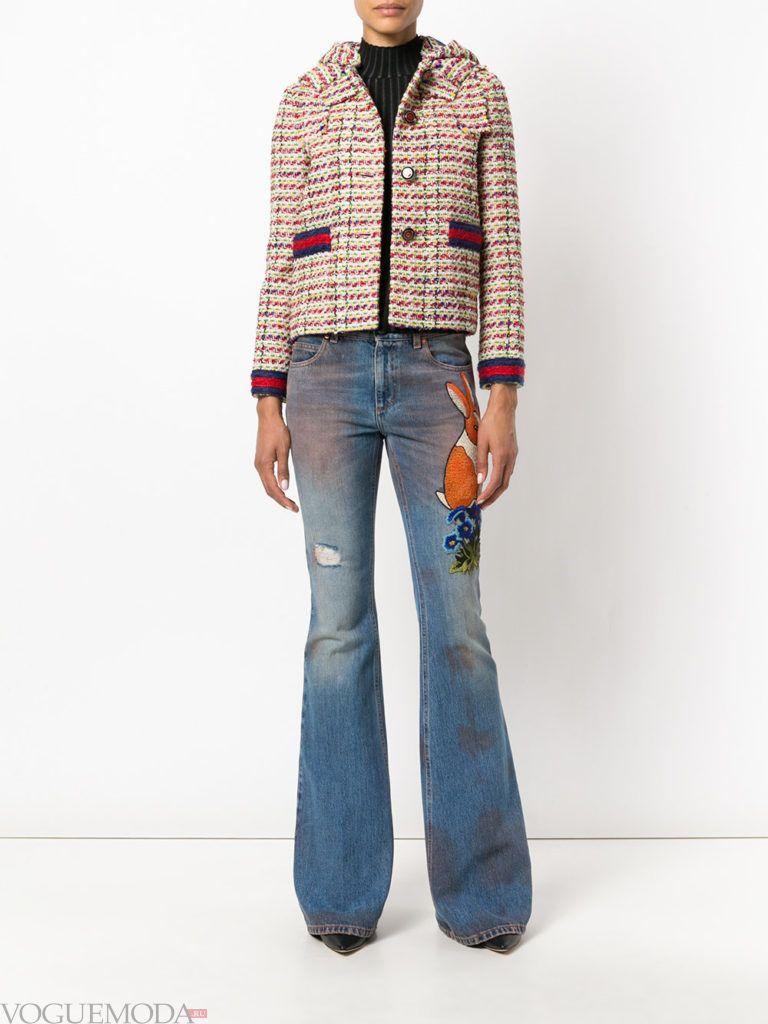 модные джинсы с вышивкий