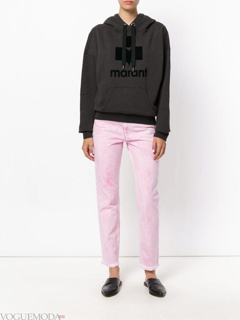 модные джинсы розовые