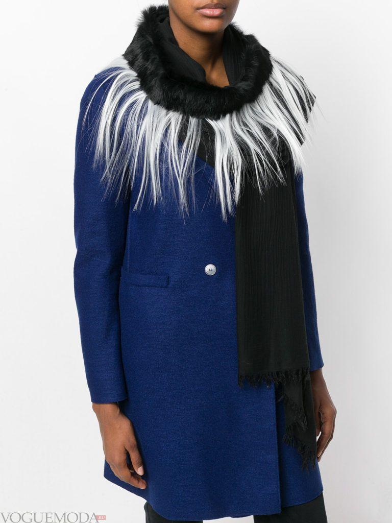 шарф с мехом черный