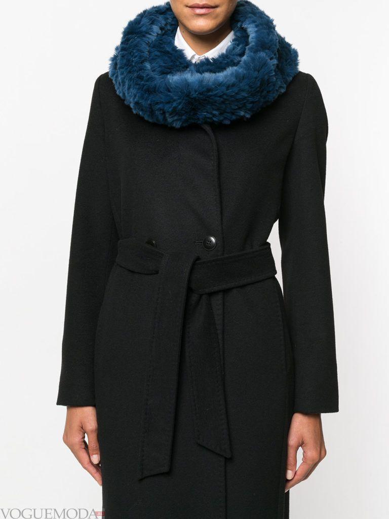 меховой шарф синий
