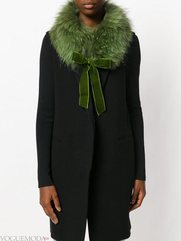меховой шарф зеленый