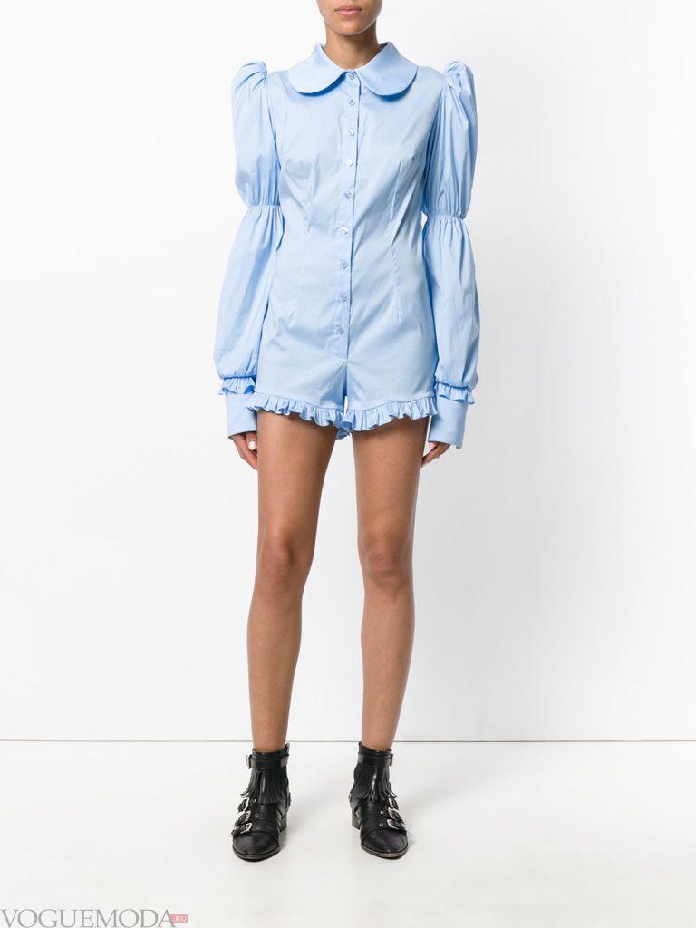 женский комбинезон с шортами голубой