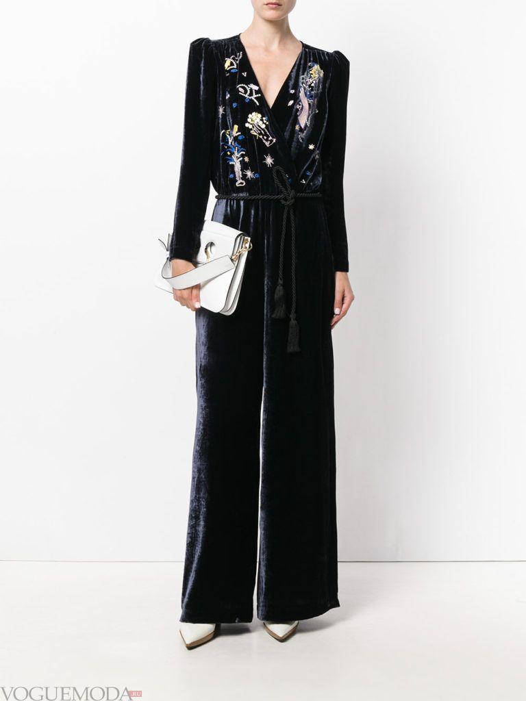 женский комбинезон с широкими брюками бархатный