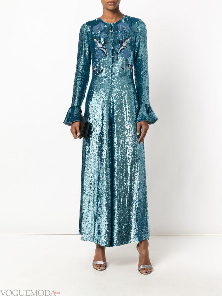 женский комбинезон с широкими брюками блестящий