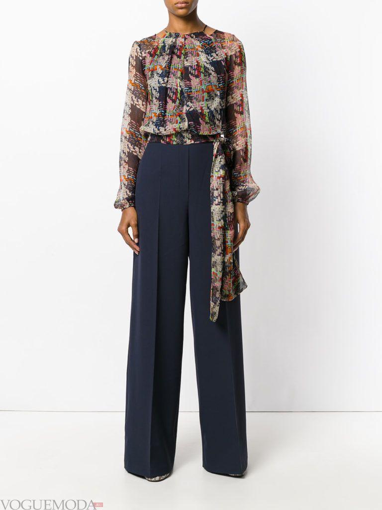 женский комбинезон с широкими брюками комбинированный