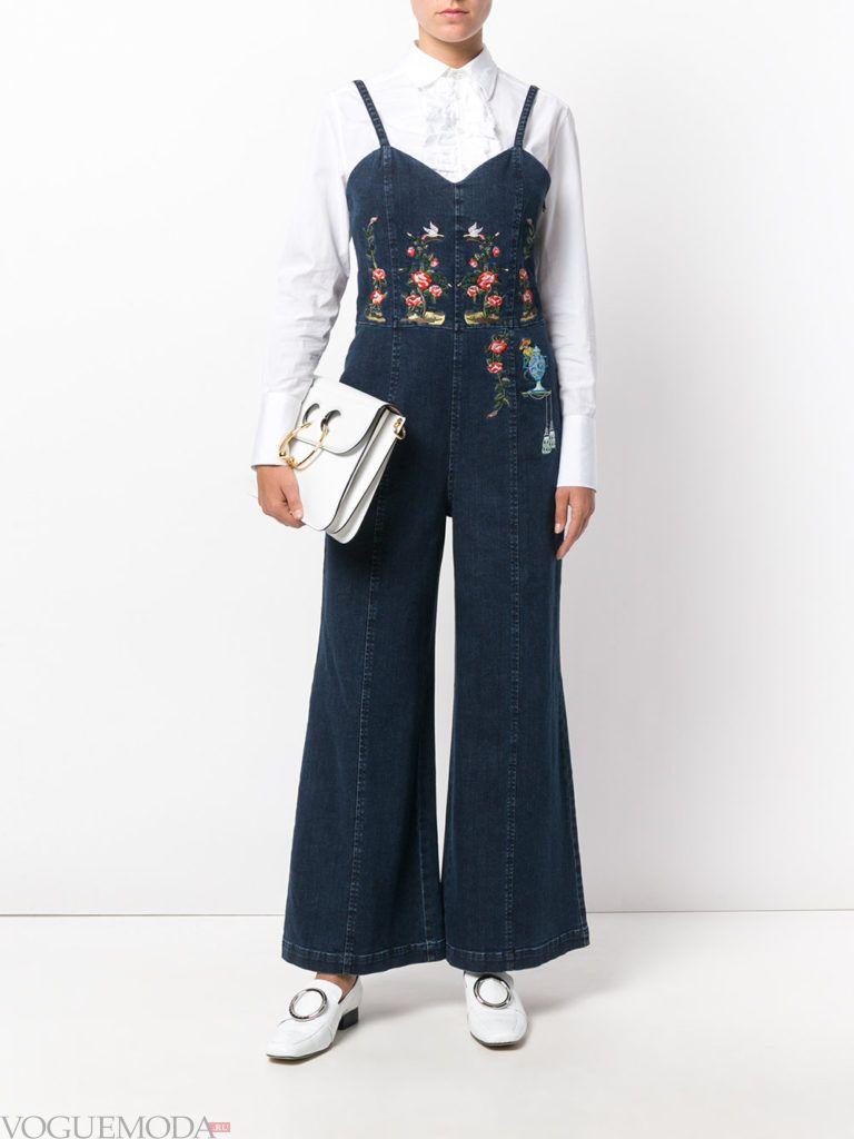женский джинсовый комбинезон темный