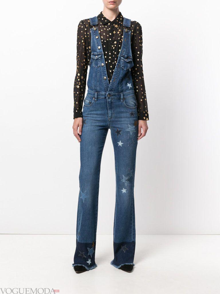 женский джинсовый комбинезон клеш