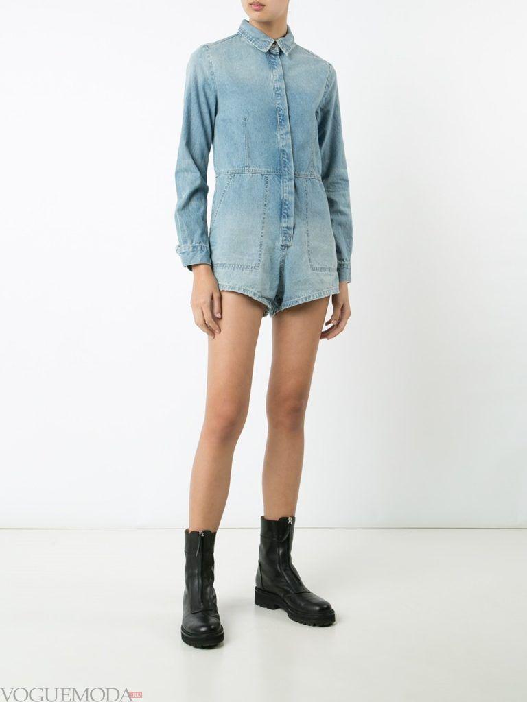 женский комбинезон с шортами джинсовый