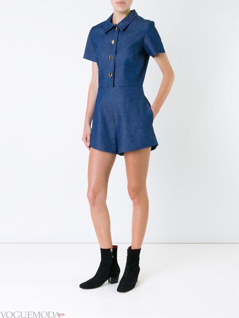 летний джинсовый комбинезон синий